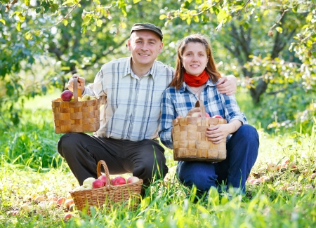 happy couple in the garden harvests Stock Photo - 15891799