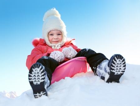 Girl with sleds on the hill Stock Photo - 19026524