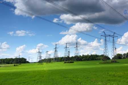 Summer landscape with electrical transmission lines Archivio Fotografico