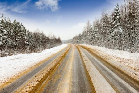 Slippery road winter treated reagent photo