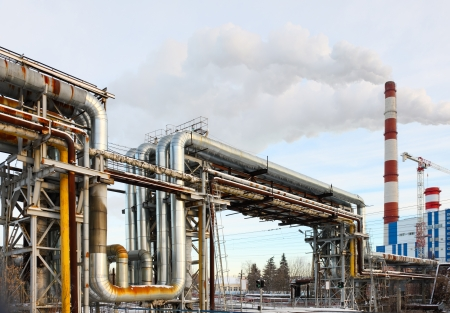 npp: Electric heat station and line pipe Stock Photo
