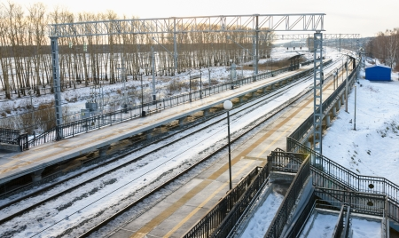 no rush: winter view of the train station Stock Photo