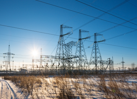 power substation against the background of the sunny sky Stock Photo