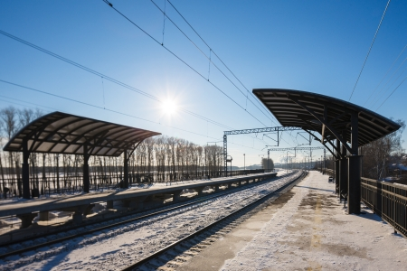 winter view of the train station Stock Photo