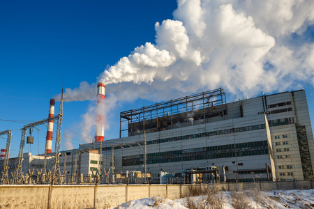 energy industry: building energy industry on a frosty day