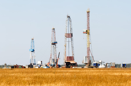 onshore: Oil and gas drilling rig in Russia Stock Photo