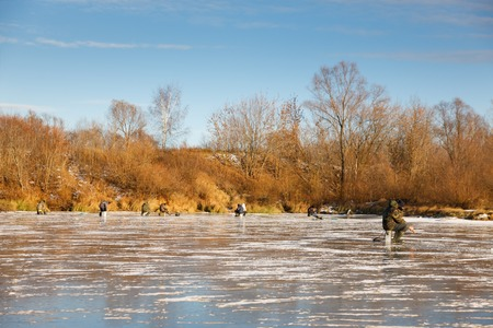 group of fishermen  Fish in the Winter photo