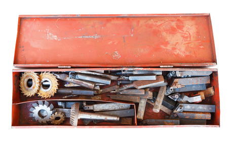 box with old plumbing turning tools