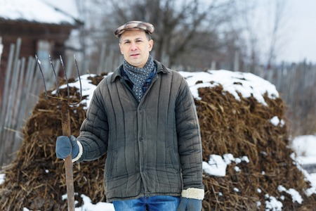 arable farming: man with a fork  heap of manure in early spring Stock Photo