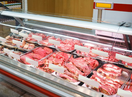 meat products in small butcher shop