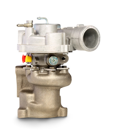 turbocharger: Turbocharger. Turbine for auto Isolated on white Stock Photo