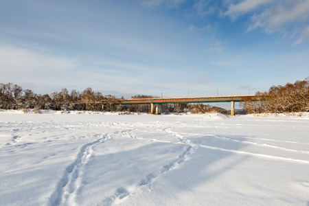 frigid: Winter view bridge in frigid weather with ice