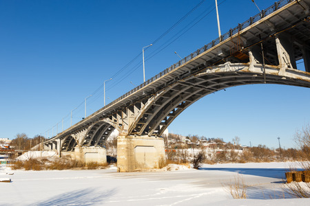 frigid: Winter view of  bridge in frigid weather
