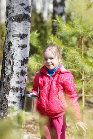 sylvan: girl in the spring forest collects birch sap