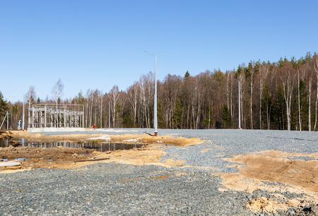 benzine: Gas station under construction near road