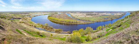 panorama of curves of the river flows in plain