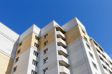 multi storey: bottom view of facade modern multi storey house