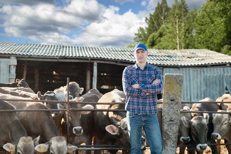 male cow farmer on farm on a sunny day