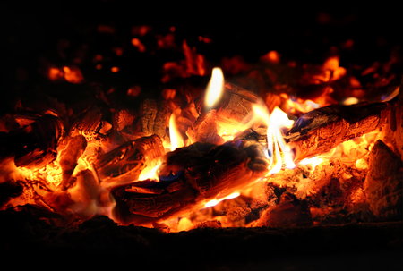 coals: Hot Charcoal in the BBQ Grill Pit Stock Photo