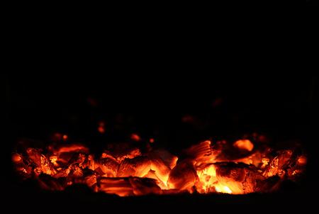 Hot Charcoal in the BBQ Grill Pit Archivio Fotografico
