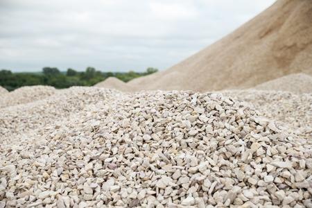 heaps of limestone gravel