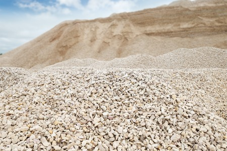 heaps of limestone gravel