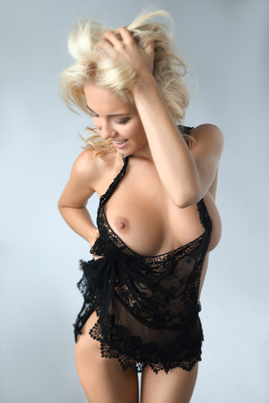 happy  beautiful woman posing naked