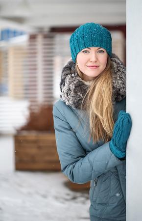 Winter woman Christmas  outdoor portrait