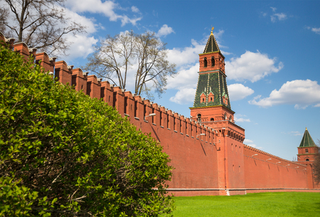 christian trust: Towers  of Moscow  behind  red kremlin wall