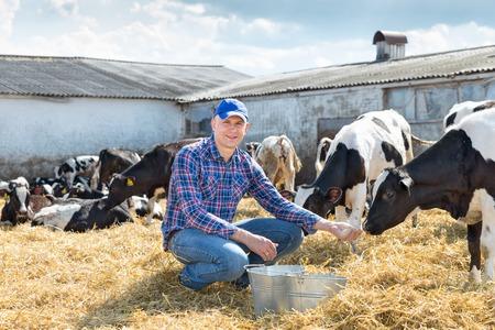 Portrait of Farmer feeding cows in farm
