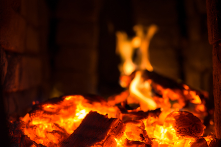lurid: Fire. Burning charcoal in the grill Stock Photo