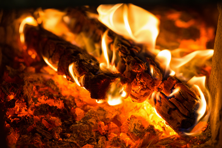 lurid: Fire Burning charcoal in the grill