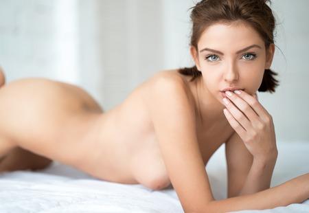 Sexy nude lady. Portrait of beautiful nude woman. Erotic portrait of sexy nude lady.