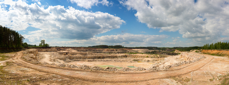 Panorama of a limestone quarry on a sunny day