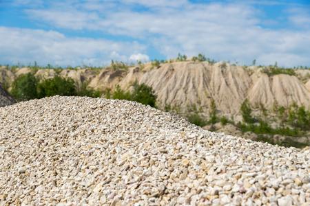 macadam: Pile of macadam in a quarry