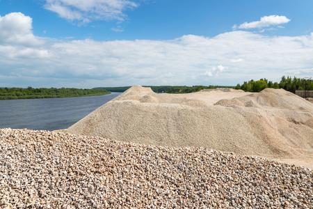 macadam: Pile of macadam stone in a quarry Stock Photo
