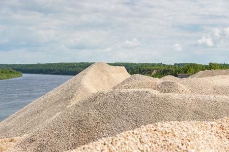 Pile of macadam stone in a quarry Imagens