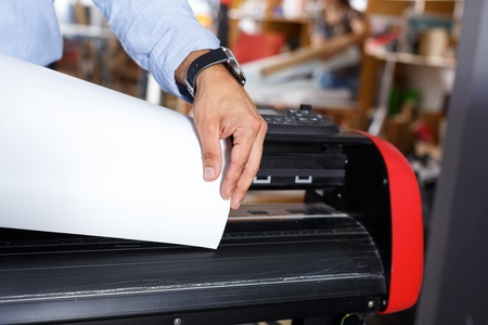 close-up of paper in a large print Stock Photo