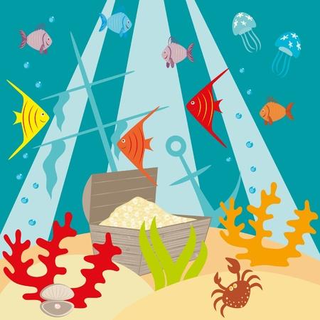Petto di tesori al mare a fondo Vettoriali