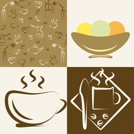 Set of drawings on a theme  cafe   Stock Vector - 12694680