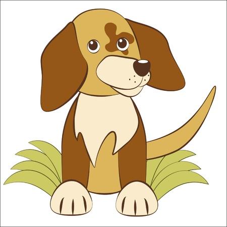 Cute cartoon puppy sits on a grass  Illustration