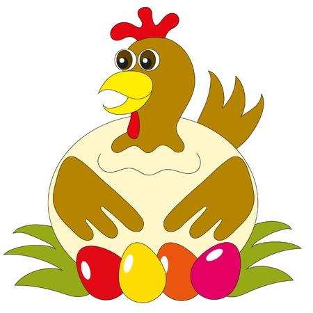 I portelli gallina fuori le uova dipinte
