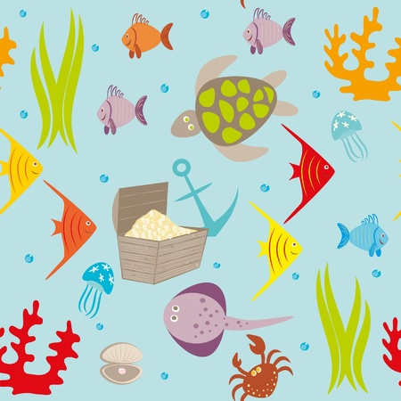 aquatic reptile: Seamless drawing with sea animals,small fishes,vials