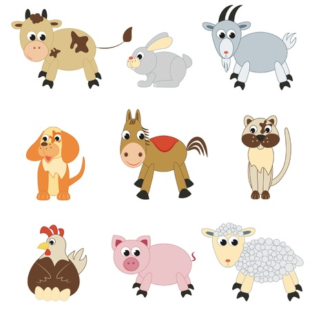 Set of farm animals on white background