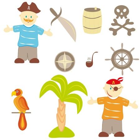 Set pirateria su sfondo bianco Vettoriali