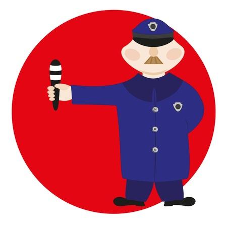 Cartoon poliziotto con un personale