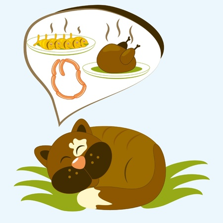 Cartoon cat has dreams about tasty meal  Illustration
