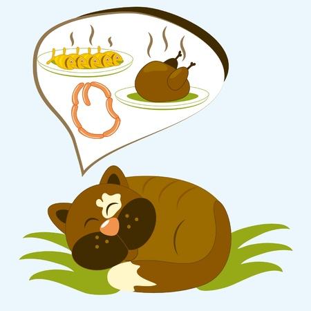 Cat ha Cartoon sogna gustoso pasto Vettoriali