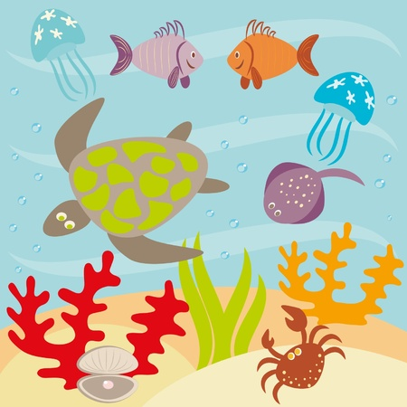Underwater landscape and animals living in ocean  Vector