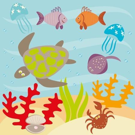 aquatic reptile:  Underwater landscape and animals living in ocean